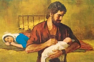 To me, one of the most realistic depictions of Mary - resting b/c she just had a baby.