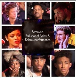 Celebrity reactions during VMA performance.  Dear Hollywood:  there IS a line.