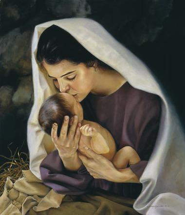Mary kissing baby jesus, dark-haired